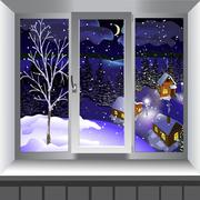 View from window of landscape of town from hill. Winter Stock Illustration