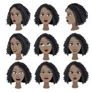 Set of variation of emotions of the same black girl - stock illustration