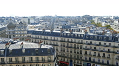 Aerial view from the terrace of store Printemps, Paris Stock Footage