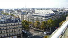 Aerial view from the terrace of store Printemps on Paris - stock footage