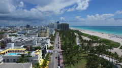 Fly Over Ocean Drive (High North View) - South Beach - Aerial 4K Stock Footage
