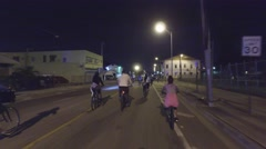 Night footage Miami Critical Mass Stock Footage