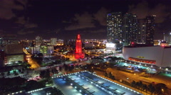 The Freedom Tower Miami - Slow Aerial Approach at Night Stock Footage