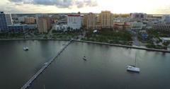 W.P.B. 4K Aerial - Downtown Flight (sunset) Stock Footage