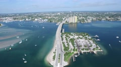 Singer Island- sail boats - Marina GrandeAerial 4K Stock Footage