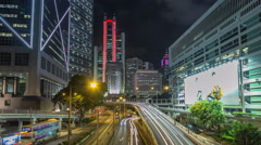 Hong Kong traffic timelapse hyperlapse near bank tower in Central District of Stock Footage