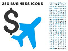 Aviation Business Icon with Flat Vector Set Stock Illustration