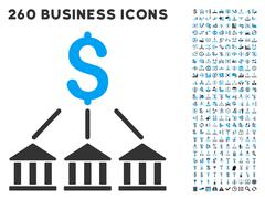 Bank Association Icon with Flat Vector Set Stock Illustration
