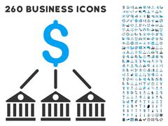 Bank Expenses Icon with Flat Vector Set Stock Illustration