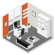 Home offices room isometric icon set - stock illustration