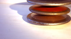 Close up of discus on a table Stock Footage