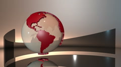Stock Video Footage of 3d spinning glass Earth globe with red extruded continents