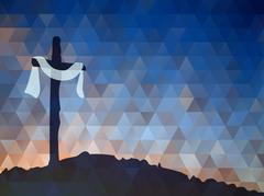Easter scene with cross. Jesus Christ. Watercolor vector illustr - stock illustration