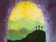 Easter scene with cross. Jesus Christ. Polygonal vector design - stock illustration