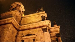 St. Isaac's Cathedral, View from below at night in winter, Saint-Petersburg - stock footage