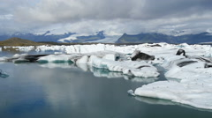 Jokulsarlon. Glacial river lagoon.  Vatnajokull National Park. Iceland Stock Footage