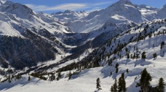 Winter Landscape, Ski Resort, Alps mountains - stock footage