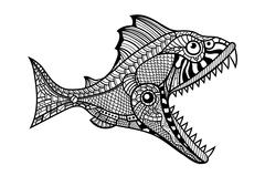 Deep water predator fish attacking - stock illustration