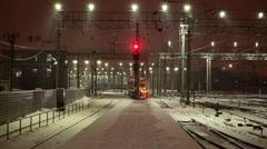 Locomotive on the railway station Stock Footage