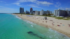 Aerial droning Miami Beach Stock Footage