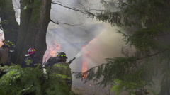 House fire burns wild - stock footage