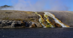 Mineral rich colorful waterfall from Geyser, Yellowstone National Park Stock Footage