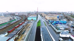 Industrial Cityscape Aerial View. Highway Amd Railroad. Moscow, Russia Stock Footage