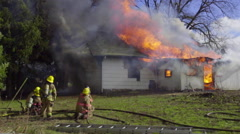 Residential house burns down Stock Footage