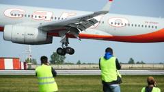 Big Airplane Landing in Slow Motion Stock Footage