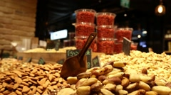 Stalls of nuts and almonds Stock Footage