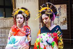 KYOTO, JAPAN - OCTOBER 12, 2015 : Maiko, Apprentices geisha, in Kyoto, Japan. - stock photo