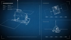Looping, animated orthographic engineering blueprint of Messenger spacecraft.  Stock Footage