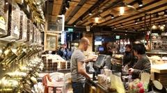 Organic store in indoor market Stock Footage