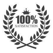 100 % Satisfaction Label Vector Illustration - stock illustration