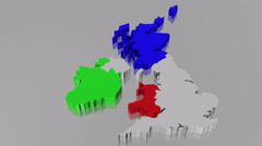 United Kingdom and Ireland Animation Stock Footage