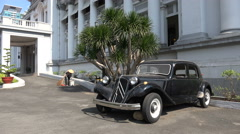 Old Citroen Traction Avant in the Ho Chi Min City Museum in Vietnam Stock Footage