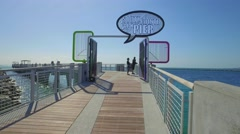 Video of the South Pointe Park Pier MIami Beach Stock Footage