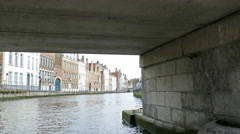Scenic city view of Bruges, Belgium, canal Spiegelrei Stock Footage