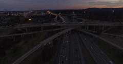 4k Interstate Dusk Mix Master 001 Fly Over - stock footage