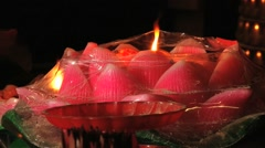 Candle burns in the A-Ma Buddhist temple in Macau, China. Stock Footage