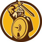 Mongol Horde Barbarian Warrior Sword Circle Retro - stock illustration