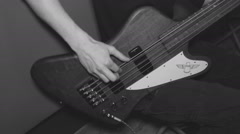 Young Man Male Playing on the Bass Guitar in the Studio. Sound Recording. Stock Footage