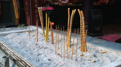 Incense burn in the A-Ma Buddhist temple in Macau, China. Stock Footage