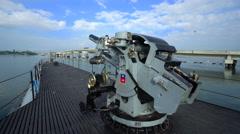 Big anti aircraft gun on Uss Bowfin submarine - Pearl Harbor Stock Footage