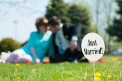 Just married sign Stock Photos