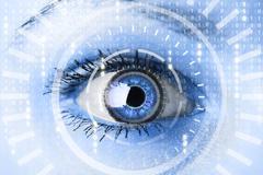 Cyber woman with matrix eye concept - stock photo