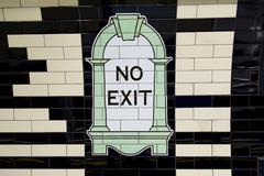 LONDON, UK - April 13, 2015 : No exit sign, Stock Photos