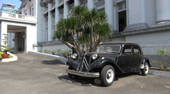 Classic French old timer car in museum in Saigon, Vietnam Stock Footage