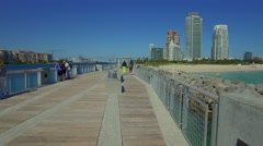 South Pointe Park Pier motion video Stock Footage