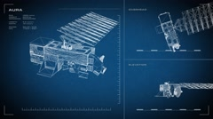 Looping, animated orthographic engineering blueprint of Aura spacecraft.  Stock Footage